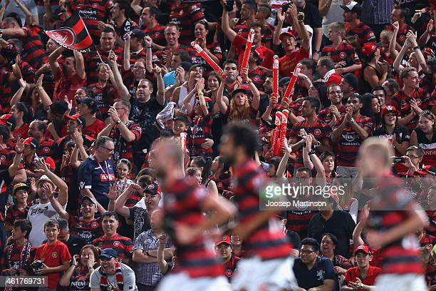 Western Sydney Wanderers fans cheer after Brendon Santalab scored a goal during the round 14 ALeague match between the Western Sydney Wanderers and...