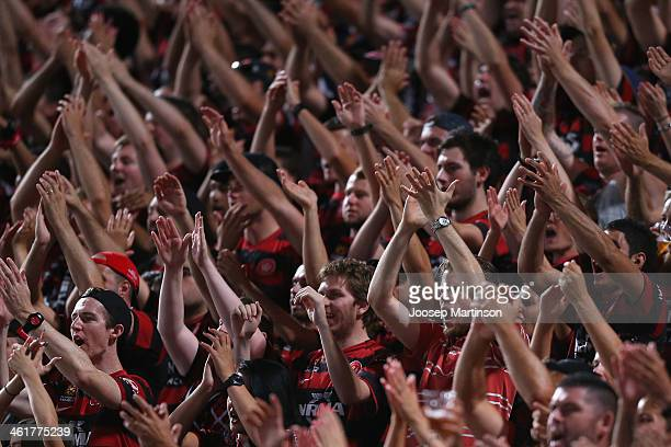 Western Sydney Wanderers fans cheer after the round 14 ALeague match between the Western Sydney Wanderers and Sydney FC at Parramatta Stadium on...