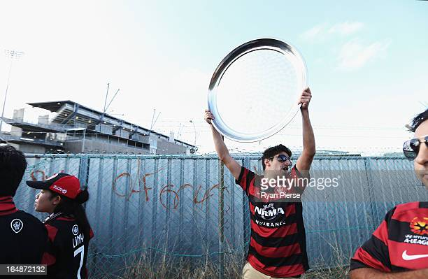 Western Sydney Wanderers fans walk to the stadium before the round 27 ALeague match between the Newcastle Jets and Western Sydney at Hunter Stadium...