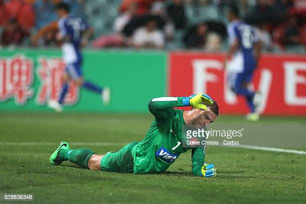 Western Sydney Wanderers goalkeeper Ante Covic show his frustration after letting in another goal against Ulsan Hyundai at Parramatta Stadium Sydney...