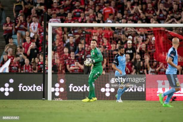 Western Sydney Wanderers goalkeeper Vedran Janjetovic saves a shot on goal at the Hyundai ALeague match between Western Sydney Wanderers and Sydney...