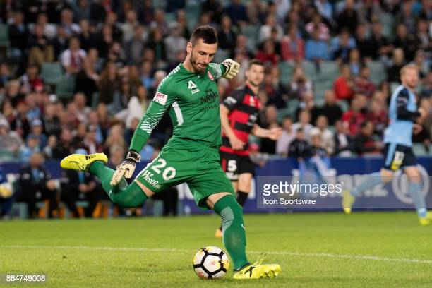 Western Sydney Wanderers goalkeeper Vedran Janjetovic sends the ball downfield at the Hyundai ALeague match between Sydney FC and Western Sydney...