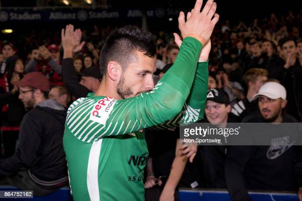 Western Sydney Wanderers goalkeeper Vedran Janjetovic thanks the crowd at the Hyundai ALeague match between Sydney FC and Western Sydney Wanderers on...