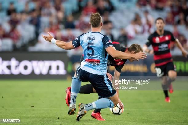 Western Sydney Wanderers Lachlan Scott and Sydney FC defender Jordy Buijs at the Hyundai ALeague match between Western Sydney Wanderers and Sydney FC...
