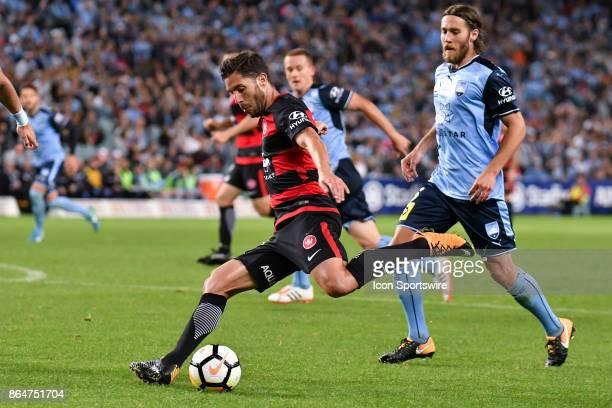 Western Sydney Wanderers midfielder Nicolas Martinez kicks the ball at the Hyundai ALeague match between Sydney FC and Western Sydney Wanderers on...
