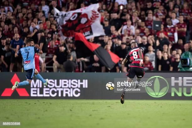 Western Sydney Wanderers midfielder Roly Bonevacia has a shot at goal at the Hyundai ALeague match between Western Sydney Wanderers and Sydney FC on...