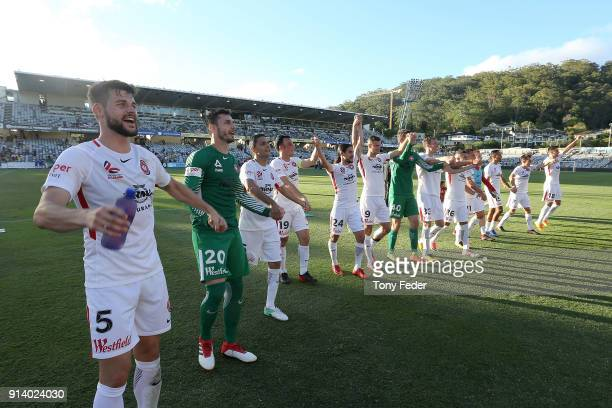 Western Sydney Wanderers players celebrate the win over the Mariners during the round 19 A-League match between the Central Coast Mariners and the...