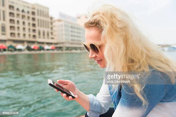 Western tourist woman in Old Dubai