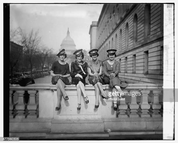 Western Union Messenger Girls pose near the Capitol Washington DC 1925