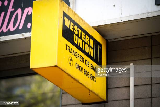 A Western Union money transfer office is seen in central Bucharest Romania on April 30 2019