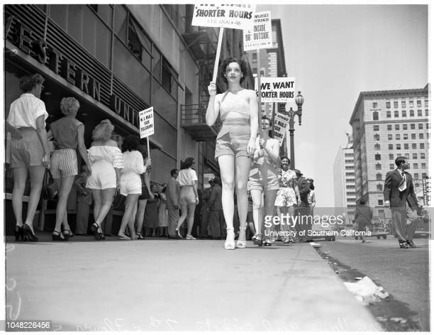Western Union pickets in shorts 8 May 1952 Vetta CoffeyMr and Mrs Laurence C Steele Supplementary material reads 'Western Union girl pickets 7th and...