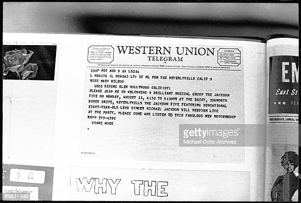 A Western Union Telegram dated 9th August 1969 from Diane Ross to Mary Wilson of the Supremes inviting her to a party at which The Jackson Five will...