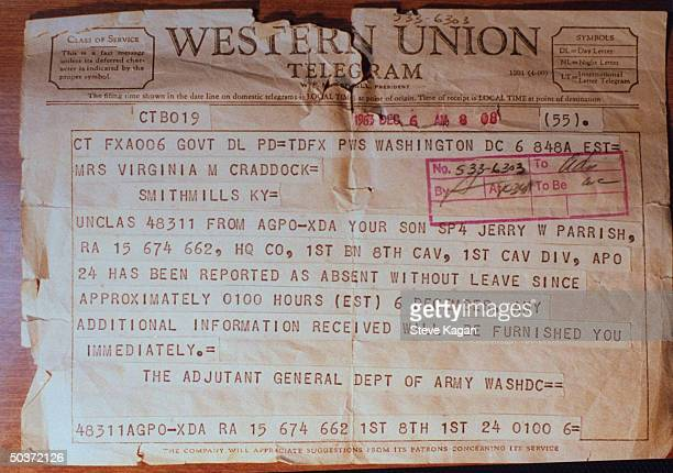 Western Union telegram reporting American soldier Jerry Parrish as AWOL during the Korean War