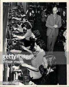 Western Union Telegraph Company switchboard operators in Detroit, Michigan, USA, 1938.