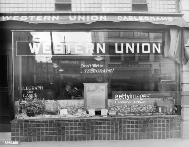A Western Union telegraph office circa 1933