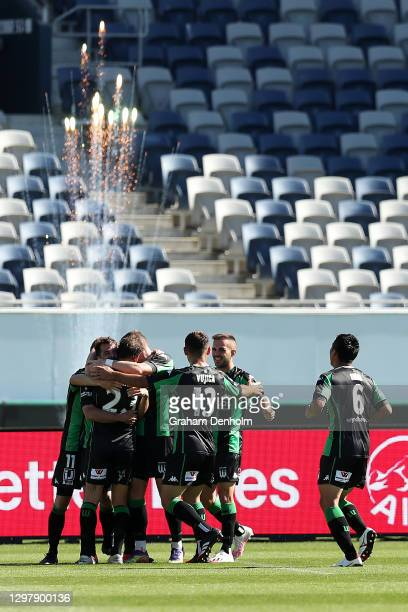Western United celebrate a goal during the A-League match between Western United and the Perth Glory at GMHBA Stadium, on January 23 in Geelong,...