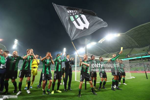 Western United celebrate after they defeated Melbourne City during the A-League match between Western United FC and Melbourne City at AAMI Park, on...