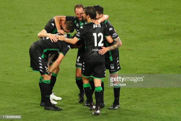 Western United celebrate winning the round 10 A-League match between the Brisbane Roar and Western United at Suncorp Stadium on December 13, 2019 in...