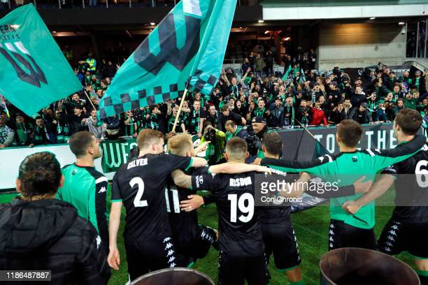 Western United players and their fans celebrate during the Round 5 ALeague match between Western United and the Western Sydney Wanderers at GMHBA...