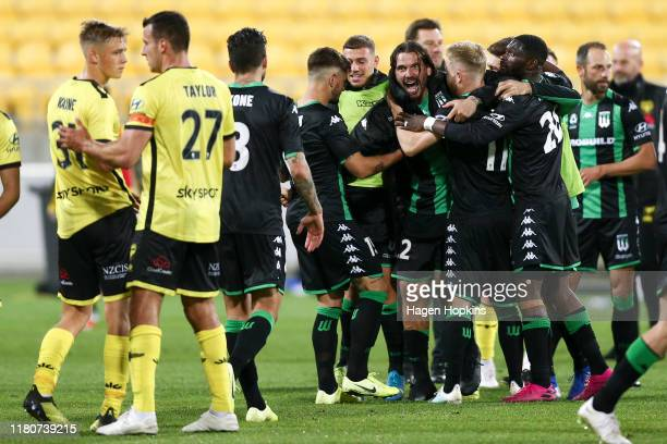 Western United players celebrate the win during the Round 1 ALeague match between the Wellington Phoenix and Western United FC at Westpac Stadium on...