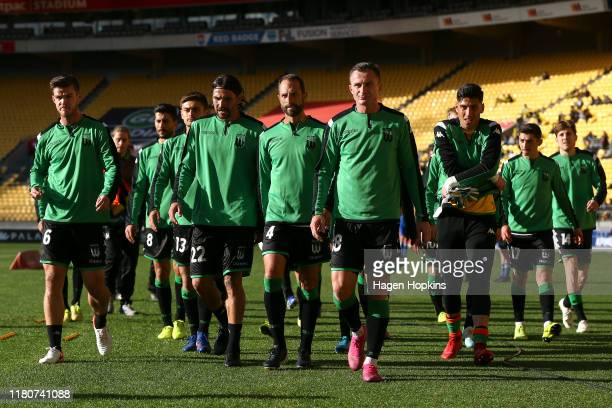 Western United players leave the field after warming up during the Round 1 ALeague match between the Wellington Phoenix and Western United FC at...