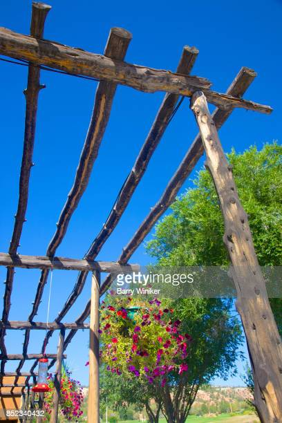 Western wood structure in Utah under blue sky