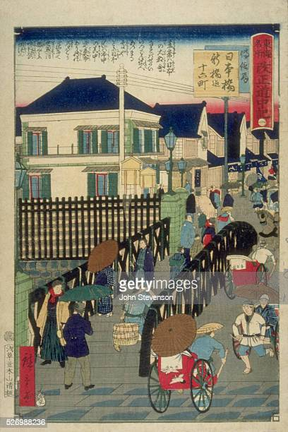Westernstyle stone houses in Tokyo from a series called 'Famous Places on the Tokaido a Record of the Process of Reform' designed only seven years...