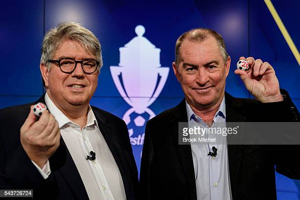 Westfield chairman Greg Miles and former Socceroos captain Paul Wade pose during the FFA Cup round of 32 draw announcement at the FFA Offices on June...