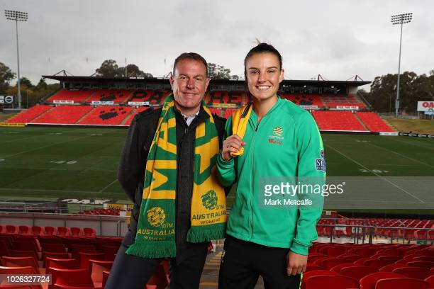 Westfield Matildas Head Coach Alen Stajcic and Chloe Logarzo of the Matildas pose for a photo at Panthers Stadium after the announcement of a two...