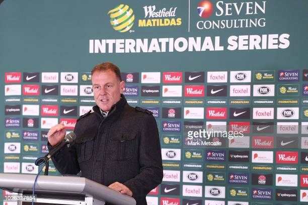 Westfield Matildas Head Coach Alen Stajcic speaks to media at Panthers Stadium after the announcement of a two match International Friendly series...