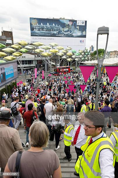 westfield shopping centre entrance to the olympic park, london - sports event stock photos and pictures