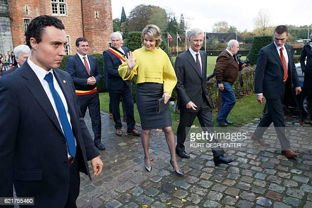 WestFlanders province governor Carl Decaluwe Queen Mathilde of Belgium and King Philippe Filip of Belgium visit the 'Koning Albert I en de Grote...