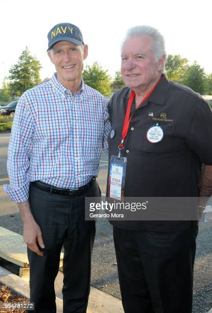 Westgate Resorts CEO David Siegel and Florida Governor Rick Scott pose during the Westgate Resorts Military Weekend 2018 at Westgate Vacation Villas...