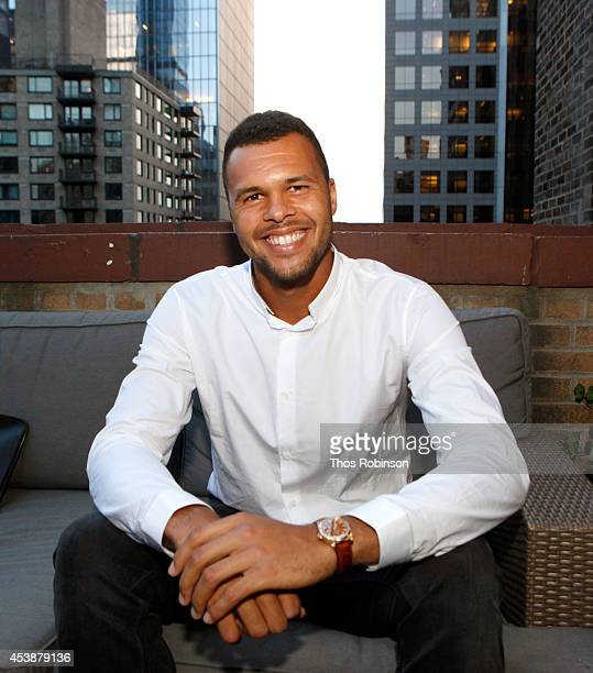 WestHouse New York toasts JoWilfried Tsonga during Taste of Tennis Week on the Terrace at WestHouse Hotel on August 20 2014 in New York City