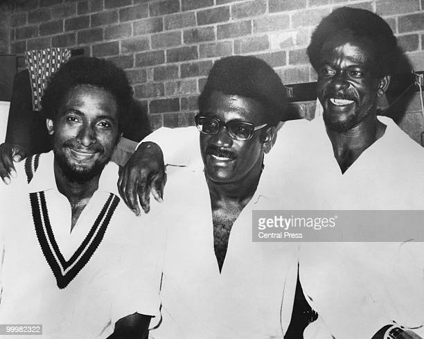 WestIndian cricketers Andy Roberts Clive Lloyd and Roy Fredericks after they beat Australia in the Second Test at Perth Australia 22nd December 1975
