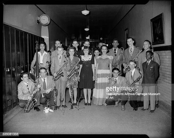 Westinghouse High School swing band 'The Kdets' from left in front Melvin Carb Fred Foxx Louis Zegarelli Dolores Cyphers Lee Bocchiachio Marguerite...