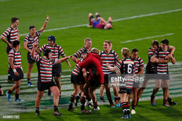Westlake Boys celebrate after winning the curtainraiser North Harbour Rugby 1st XV schoolboy final over Rosmini College at QBE Stadium on August 21...