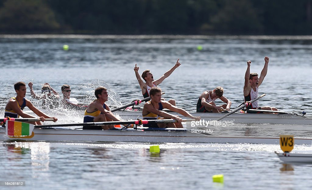 Westlake Boys high celebrate winning the boys U18 lightweight coxed four final during day five of the Maadi Cup at Lake Karapiro on March 22, 2013 in Cambridge, New Zealand.