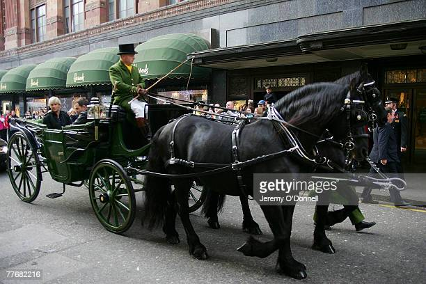Westlife arrive at Harrods in a horse drawn carriage for the launch of the band's 9th album 'Black Home' on November 5 2007 in London England