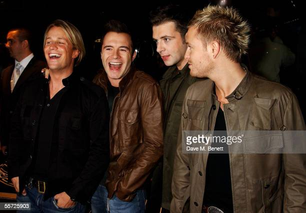 Westlife attend the store relaunch party celebrating the refurbishment of the Versace London store at Sloane Street on September 19 2005 in London...