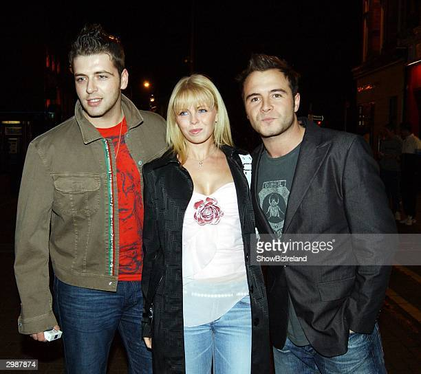 Westlife members Mark Feehily Shane Filan and his wife Gillian attend Queen of the Jungle Kerry McFadden's welcome home party in Lillies Bordello on...