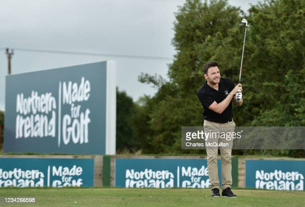 Westlife music artist Shane Filan during the Pro Am event at The ISPS HANDA World Invitational at on July 28, 2021 in Ballymena, United Kingdom.