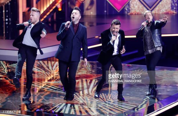 Westlife perform during the annual German film and television awards 'Golden Camera' of German TV magazine 'HoerZu' in Berlin on March 30, 2019. -...