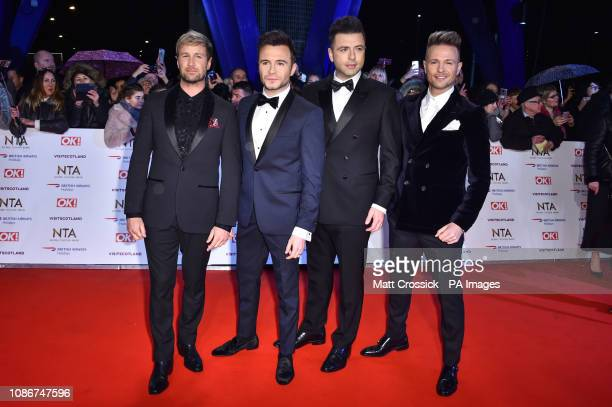 Westlife's Kian Egan, Shane Filan, Markus Feehily and Nicky Byrne attending the National Television Awards 2019 held at the O2 Arena, London