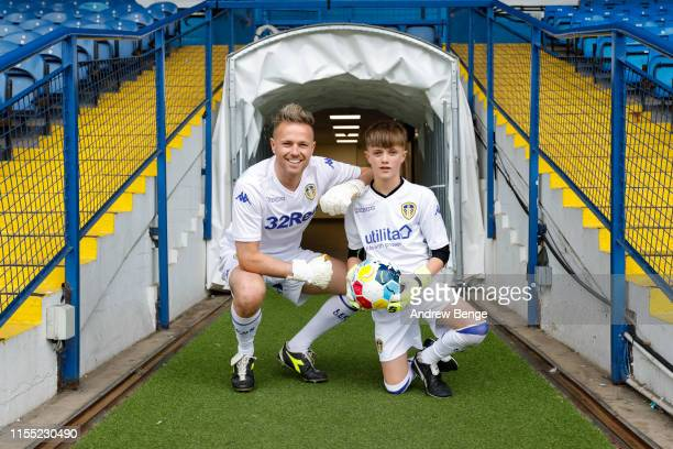 Westlife's Nicky Byrne and son Rocco pose for a photo as they train ahead of the Soccer Aid match at Elland Road home of Leeds United FC on June 11...