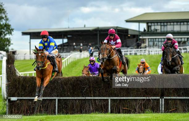 Westmeath Ireland 10 July 2020 Jerandme left with Sean Flanagan up jumps the second alongside eventual second place Aforementioned centre with Davy...