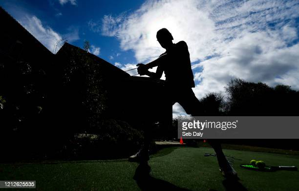 Westmeath , Ireland - 11 May 2020; Irish No.1 ranked tennis player and Davis Cup team member Simon Carr during a training session at his home in...