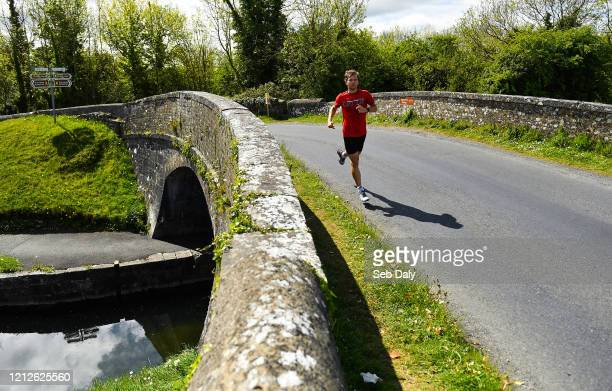 Westmeath , Ireland - 11 May 2020; Irish No.1 ranked tennis player and Davis Cup team member Simon Carr during a training session along the Royal...