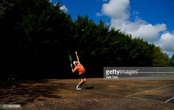 Westmeath Ireland 11 May 2020 Irish No1 ranked tennis player and Davis Cup team member Simon Carr during a training session at his home in Westmeath...