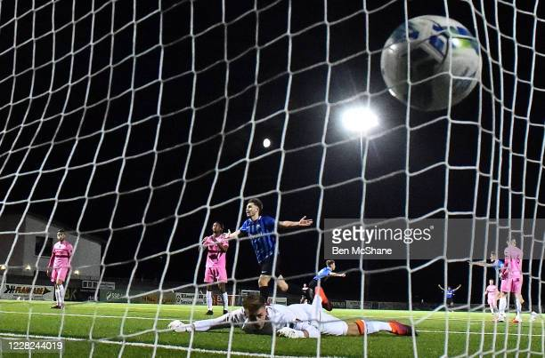 Westmeath , Ireland - 28 August 2020; Tom Murphy of Wexford looks on as he concedes his fifth goal, scored by Lee Duffy of Athlone Town, during the...